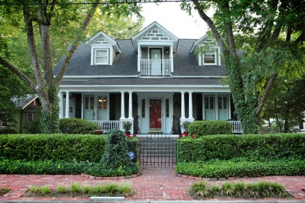 A Cape Code style with a large front porch.