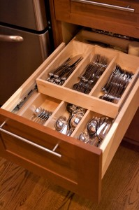 The drawer within a drawer allows for storage of all the Dunlap's flatware.