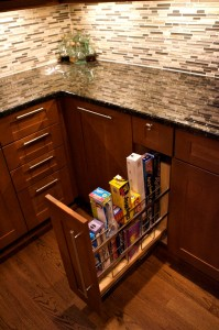 A wrap drawer is one of the conveniences built into the kitchen.