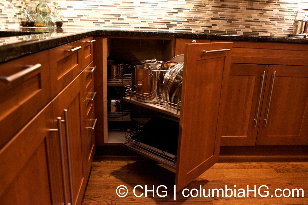 The Corner Cabinet Utilizes A Complex Drawer System To Pull Out The  Interior Unit When Fully
