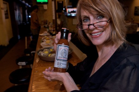 Mother Shucker (Mary Sparrow) displays her favorite cocktail sauce.
