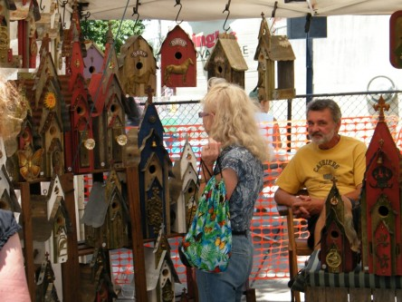 There's a bird house for every taste at this vendor's booth.