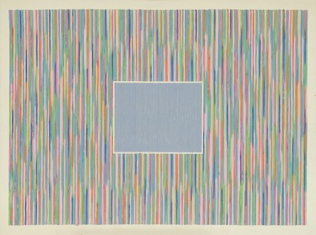 Gene Davis, American, 1920-1985, Sky Window, 1981 acrylic on canvas, Courtesy of the Joye Cottage Foundation