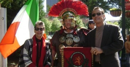 Posing with the gladiator are Nick Pizzuti, Italian Festival Chairperson and Carmella Roche, Italian Festival Co-Chair.