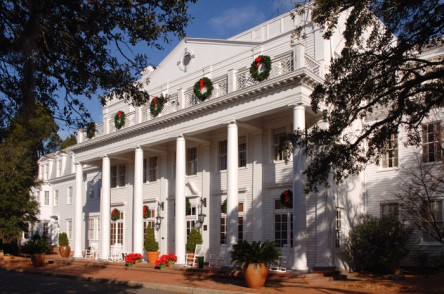 The facade of the historic Willcox Inn, an Aiken landmark, decked for the holidays.