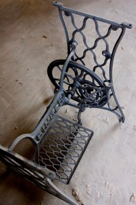 Fred picked up several antique Singer sewing machine frames to be fitted with table tops from salvaged wood.