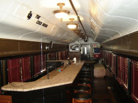 The interior of the passenger car has been outfitted to provide ample party space.