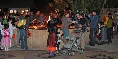 Visitors enjoy an outdoor marshmallow roast.