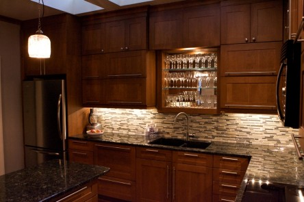 The Dunlap's kitchen was re-designed and completely renovated with new cabinets, counters and appliances.