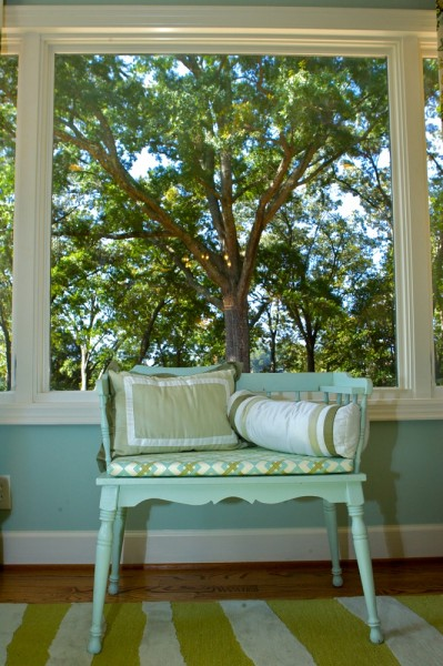 The new 'gathering room' is treated to a view of the grandest oak on the property.